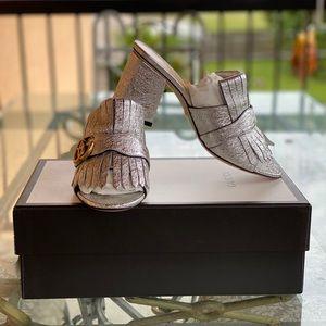 Gucci Silver Metallic Leather Marmont Mule Sandal